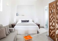 Bedroom, Native Eco Villa, Santorini Grece l #ecodesign #cocomat