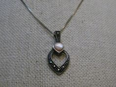 """Vintage Sterling MOP Marcasite Heart Necklace, 20""""  Box Chain, 3.74gr. 1970's-80 #Unbranded #Chainwithpendantswingbail"""