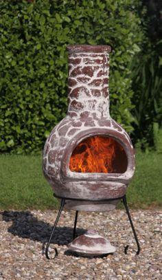 Mexican Clay Chimenea Cantera Chiminea Patio Heater Fire Bowl Barbeque Stove