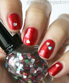 Glitter and Nails: Valentine's Day : China Glaze Ring In the Red + Kleancolor Twinkly Love
