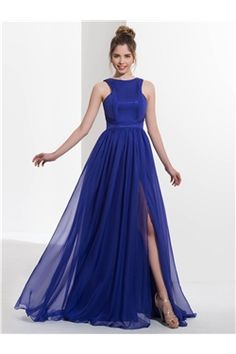 Simple & Casual Scoop Evening All Sizes Blue Natural Graduation Military Ball Dress
