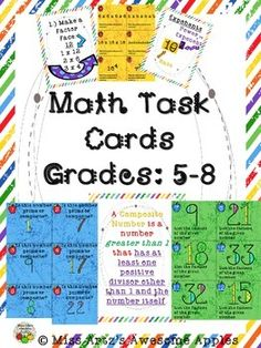 This is a set of math task cards for grades 5-8 that contains: prime/composite, factoring, prime factorization, and exponents. Students complete 24 task cards for each concept and record their answers on the recording sheet provided. Once students finish, they may check their answers with the answer sheets, which are also provided.