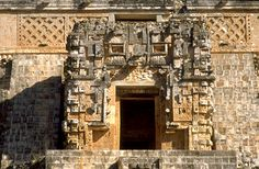 Temple of the Magician Uxmal | Temple IV: An enormous zoomorphic mask with entrance to temple as a ...