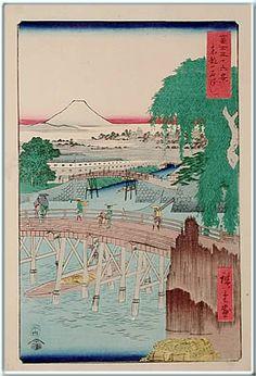 広重(1797-1858) 2. 冨士三十六景 東都一石橋 3. 安政5年 (1858)