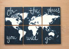 world+map+canvas+.+oh+the+places+you+will+go+.+6++by+sincerelyYOU,+$124.00