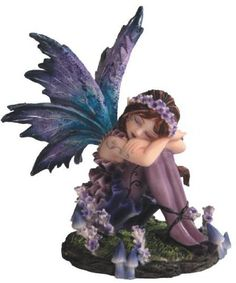 Garden Fairy Figurines | Small Young Blue and Purple Fairy Sleeping in Garden Figurine Fairy Statues, Garden Statues, Outdoor Statues, Garden Sculptures, Clay Sculptures, Cute Creatures, Fantasy Creatures, Garden Figurines, Dragon Figurines