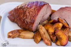 A simple and delicious honey baked ham with delicious spiced apples and peaches