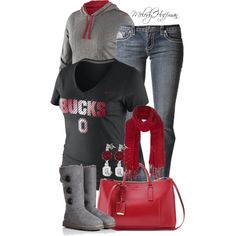 """Football Season Tailgating: #Ohio State #Buckeyes"" by mhuffman1282 on Polyvore"