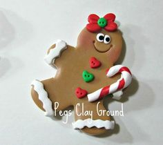 Polymer Clay Gingerbread Pendant Hair Bow center by PegsClayGround