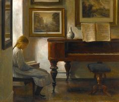 Carl Vilhelm Holsøe (Danish, 1863-1935) - 'Girl in an Interior' - 19th century