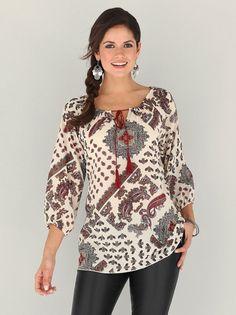 Blusa mujer manga 3/4 con borlas y cordones estampado Paisley