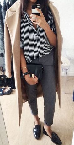 styling wool coat, wool coat style, styling mules, black shoes, styling trousers, grey trousers style, styling button down, striped tee, styling stripes, winter style, style for winter, layering for winter