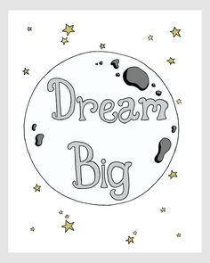 Nursery Art Dream Big Moon by SweetMelodyDesigns on Etsy