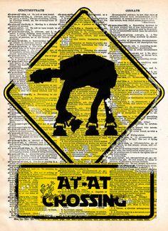 Star wars art print, AT-AT Crossing, vintage star wars art, dictionary print