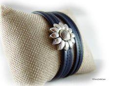 Womens wrap leather bracelet dark blue silver by elfenstuebchen