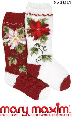 Ravelry: Poinsettia Stocking pattern by Mary Maxim Knitted Christmas Stocking Patterns, Knitted Christmas Stockings, Christmas Knitting, Crochet Christmas, Knitting Blogs, Knitting Socks, Knitting Projects, Beaded Crafts, Yarn Crafts