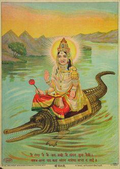 Ganga, the hindu river goddess. Indian Goddess, Durga Goddess, Rishikesh, Sup Yoga, Divine Mother, Sacred Feminine, Hindu Deities, God Pictures, Hindu Art