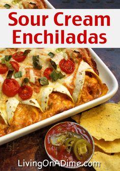 Sour Cream Enchiladas Recipe - 10 Dinners For $5 - Cheap Dinner Recipes And Ideas