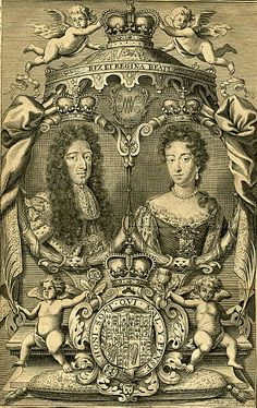 Engraving of King William and Queen Mary, reigned from 1689 - 1702.