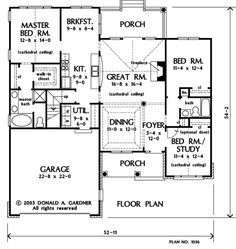 Search house plans from the Donald Gardner portfolio of custom home designs. The best home plans since Custom modification to all floor plans available. Home Design Floor Plans, Dream Home Design, House Design, Best Home Plans, Small Cottage House Plans, Fireplace Kits, Porch Bed, Craftsman Floor Plans, Custom Home Designs