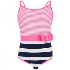 Mayoral Navy & Pink Stripe Swimsuit at alexandalexa.com