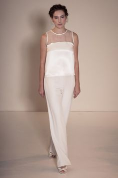 Silk Satin Organza Bridal Blouse & Trousers by DellaGiovanna; Etsy