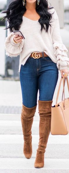 150 Fall Outfits to Shop Now Vol. 3 / 101 - Gucci Sweater - Ideas of Gucci Sweater - 150 Fall Outfits to Shop Now Vol. Fall Outfits 2018, Mode Outfits, Fall Winter Outfits, Autumn Winter Fashion, Casual Outfits, Winter Wear, Farm Outfits, Heels Outfits, Winter Dresses