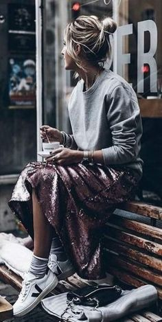 sweatshirt with skirt street style ~ sweatshirt with skirt . sweatshirt with skirt outfits . sweatshirt with skirt street style Paillette Rock Outfit, Sequin Skirt Outfit, Fashion Mode, Look Fashion, Autumn Fashion, Cheap Fashion, Fashion Trends, Skirt And Sneakers, Sneakers Street Style