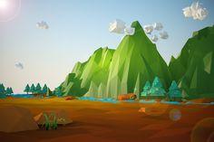 low poly landscape by dumuluma on Creative Market