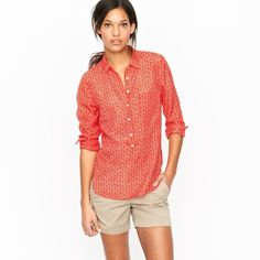 J.Crew Popover In Cerise Ikat J.Crew Popover In Cerise Ikat Great Conditions Size Small J. Crew Tops