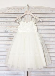 [US$ 58.19] A-Line/Princess Knee-length Flower Girl Dress - Tulle Straps With Lace (010091408)