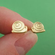 Tiny Snail Mollusk Slug Shaped Allergy Free Stud Earrings in Gold