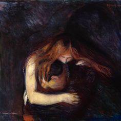 Edvard Munch - Vampire private collection - paintings by Edvard Munch - Wikimedia Commons Edvard Munch, Paintings Famous, Famous Art, Beautiful Paintings, Claude Monet, Camille Pissarro, Illustrations, Illustration Art, Kiss Painting