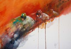 Red Hot Winner - A Horse Racing Study in Watercolour by Jean Haines by Jean Haines at Stockbridge Gallery Dogs in Art