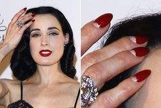 """Dita Von Teese always has lovely vintage-influenced claws. Love her """"half moon"""" manicure... Just don't buy the stick-ons! Looks much better left natural."""