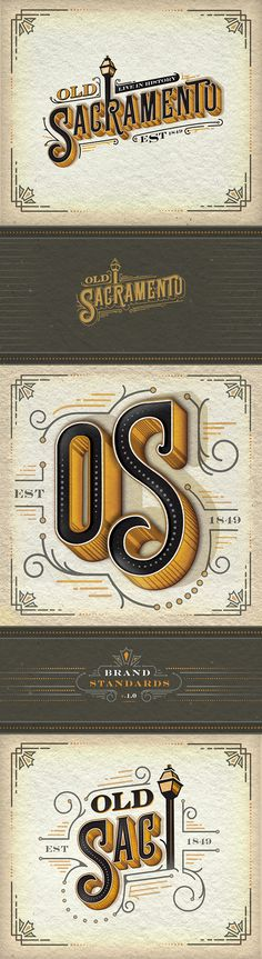Vintage Graphic Design Old Sacramento Logo Design - Cool Typography, Graphic Design Typography, Lettering Design, Web Design, Design Art, Vector Logos, Typographie Fonts, Schrift Design, Typographie Inspiration