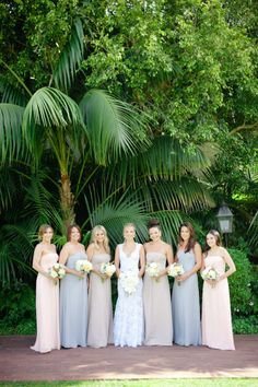 Bridesmaid dresses, wedding bridesmaids, wedding attire, wedding dresses, b Pastel Bridesmaids, Mismatched Bridesmaid Dresses, Bridesmaid Dress Styles, Bridesmaids And Groomsmen, Wedding Bridesmaids, Wedding Attire, Wedding Dresses, Bridesmaid Ideas, Perfect Wedding