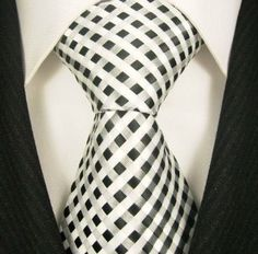 Scott Allan Woven Tie Black and White Checkered; Tie goes well with solid shirt. Sharp Dressed Man, Well Dressed Men, Fashion Moda, Fashion Sale, Fashion Outlet, Paris Fashion, Fashion Fashion, Runway Fashion, Womens Fashion