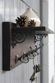 Reclaimed Wood Victorian Coat Hook Shelf by MoADesignUK on Etsy, £115.00