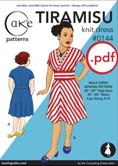 pdf Tiramisu Knit Dress Cake Patterns 0144 Second by SewingCake, $13.00