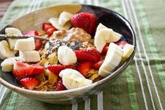 Yogurt, Honey Bunches of Oats, Banana, Strawberries, Chia Seeds and Almond Butter