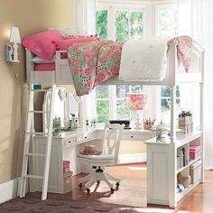 vanity loft bed - my girls share a room and have something very similar! They love their little  space under their beds with desks and bookshelves and they're connecting bunk beds with a space between their beds for TV and listening to radio drinks etc.