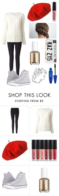 """""""Untitled #715"""" by lucy-smith-2 ❤ liked on Polyvore featuring 7 For All Mankind, Dondup, Betmar, Anastasia Beverly Hills, Converse, Essie and Maybelline"""