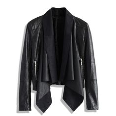 Among all the chic elements, leather jacket is the one true unbeatable legend. Take a look at this chicwish exclusive style: detachable waterfall collar, smoot…