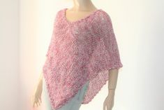 Pink Knitted Crocheted Summer Poncho cotton poncho linen | Etsy