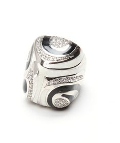 Take a look at this Silver, Black & White Statement Ring by Ingenious on #zulily today!