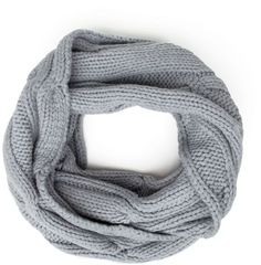 Cable Knit Infinity Scarf in Gray (grey)