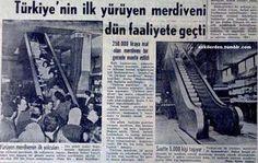 Türkiye'nin ilk yürüyen merdiveni faaliyete geçti. Bahçekapı Atalar Mağazası (Nisan 1964)