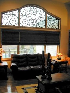 Faux Iron Over Roman Shades Yelp Woven Wood Budget Blinds Window Coverings