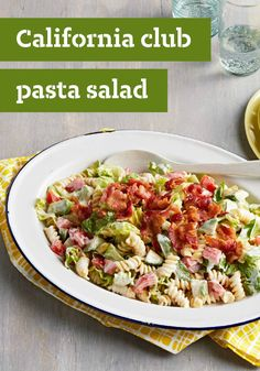 California Club Pasta Salad – Sure, this better-for-you, Healthy Living pasta salad recipe includes fresh veggies, as you might expect—but it also delivers a creamy dressing and crumbled bacon. Surprise!